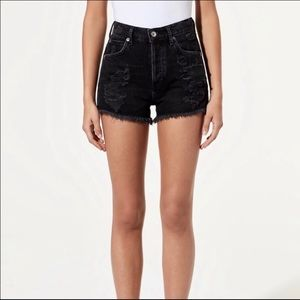 Agolde Jaden High Rise Button Distressed Shorts 24